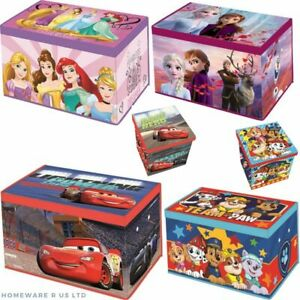 KIDS CHILDRENS DISNEY BEDROOM FOLDABLE STORAGE CHESTS OTTOMANS 55X37X33CM