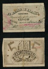 SANTANDER 5 Pesetas año 1936 BANCO HISPANO AMERICANO nº 107247. DIFICIL BILLETE.