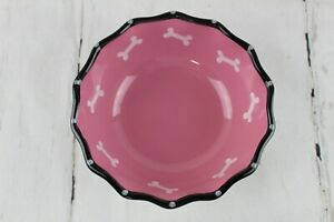 "Pink Ruffle 7"" Dog or Cat Feeding Bowl Dish with Bone on the inside Unused New"