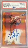 POP 1 MIKE TROUT 2016 Topps Finest Orange Refractor Auto /25 PSA 10! 1/1 Only 10