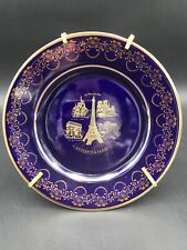 Artisanal Limoges France 22K Gold Dark Cobalt Blue Porcelain~Souvenir de Paris