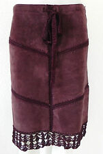 Arden B. 100% Leather Crocheted Skirt Knee Length Size 6 Burgundy