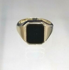 9ct Gold Man's Black Onyx Signet Ring Hallmarked Excellent Quality Size R