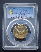 2007-S Australia One $1 Dollar Coin Sydney Harbour Bridge Counterstamp PCGS MS68