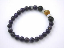 Bracelet  Amethyst Black Tourmaline Tiger Eye Natural Stones Crystal Healing