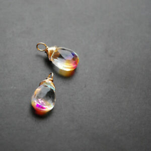 2 Rainbow Mystic Quartz Wire Wrapped Gemstone Drops
