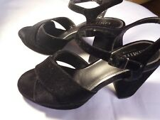 Women / Ladies Limited Edition suede Platform Peep Toe Sandals Black Size 7.5