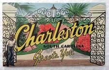 LINEN POSTCARD CHARLESTON SOUTH CAROLINA GREETS YOU BLACK MAN AT GATE #23