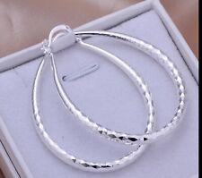 Silver Hoop Pierced Earrings Women Diamond Cut Etched Oval 925 Sterling
