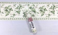 Waverly Wallpaper Border Green Ivy Leaf Flower Vine on Ivory Floral 6.85 inch