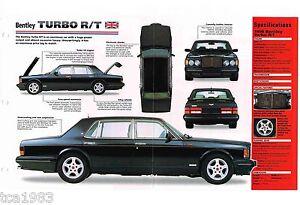 1997/1998 BENTLEY TURBO R/T SPEC SHEET/Brochure/Catalog