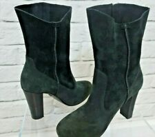 UGG Athena Black Leather Suede High Heel Rounded Toe Boots - UK Size 3.5(NA157F)