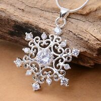 Fashion Women Gilrs Silver Plated Cubic Zirconia Nice Snowflake Necklace Pendant