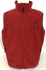 L.L. Bean LL Mens Large Full Zip Polyester Fleece Vest Red