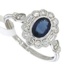 ART Deco Stile Taglio Ovale Blu Zaffiro e anello di diamanti 18ct oro bianco.