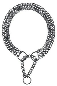 TRIPLE Trixie Semi Choke Check Collar Chrome Chain 3 Rows All sizes Dog Control