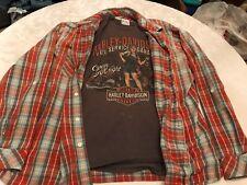 Harley Davidson T-shirts (L) (2) w/ Ruff Hewn Flannel shirt (XL)