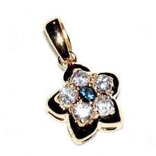 Pendentif couleur or fleur zirconium blanc et bleu bijou pendant