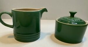Le Creuset Fennel Green Cafe Sugar Pot Milk Jug Lid Creamer Stoneware Set NEW
