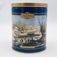 """Currier & Ives Round Popcorn Tin Houston Foods Co 6"""" Diameter 7.25"""" Tall"""