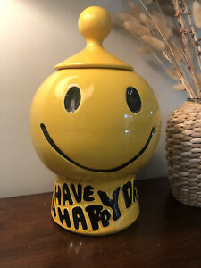 Vtg McCoy Smiley Face Cookie Jar USA Pottery Have A Happy Day With Lid #235 MCM