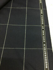 DUGDALE BROS Navy Window Pane Check Super 100's Pure Wool Suit Fabric