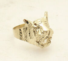 Size 10 Men's Diamond Cut Tiger Head Ring Real Solid 10K Yellow Gold 5.9gr
