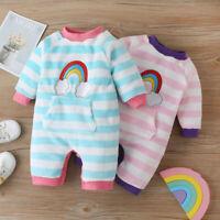 Newborn Infant Baby Girls Rainbow Striped Keep Warm Fleece Romper Jumpsuit