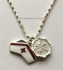 Silver RN Nurse Caduceus Necklace Pendant Nurses Cap Enamel Nursing Gift USA