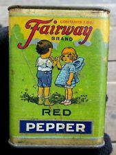 VINTAGE FAIRWAY BRAND 2 OUNCE GROUND RED PEPPER SPICE TIN WITH CHILDREN