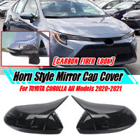 2x Carbon Look Door Mirror Cover Cap ADD-ON For Toyota Corolla ALL 2020 2021
