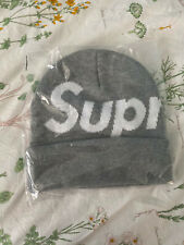 Supreme Big Logo S Logo Beanie Heather Grey Box Logo New Era Rare Camp Cap Hat