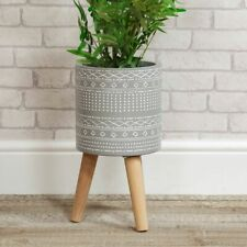 More details for widdop ornate grey clay planter with wooden legs - lovely new home gift idea
