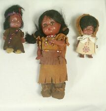 Dolls Vtg Indigenous Eegee Reliable Lot 3 50s 60s Original Suede Beads Feather