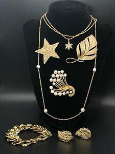 Vintage NAPIER Gold Tone Faux Pearl Brooch Necklace Bracelet & Earrings