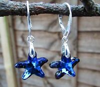 925 STERLING SILVER EARRINGS-SWAROVSKI ELEMENTS-CRYSTAL BERMUDA BLUE STARFISH