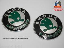 2 X SKODA FABIA FELICIA OCTAVIA RAPID ROOMSTER BADGE / EMBLEM 80mm 1U0853621C
