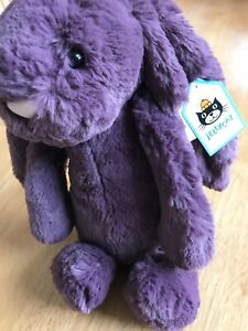 Collectible Jellycat London Med Bashful Plum Purple Bunny Stuffed Toy Collectors
