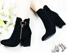 WOMENS LADIES ZIP CHUNKY MID BLOCK HEEL WORK SMART OFFICE ANKLE BOOTS SHOES SIZE