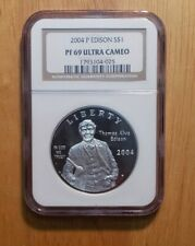2004-P THOMAS EDISON COMMEMORATIVE SILVER DOLLAR $1 NGC PF 69 ULTRA CAMEO