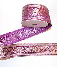 40mm purple gold jacquard embroidered ribbon applique motif trimming decor