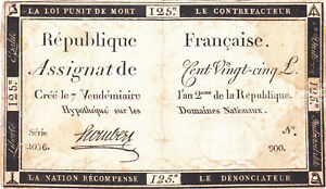 125 LIVRES VG NOTE FROM FRENCH REVOLUTION 1793 PICK-A74 RARE