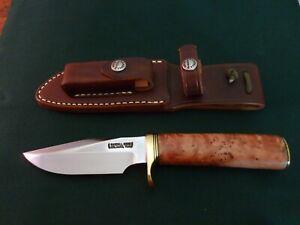 Randall Made Model #23 Gamemaster Thuya Burl Wood Handle Knife Leather Sheath