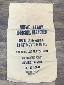 Vintage Cloth Tobin Japan Relief 100 lb All Purpose Flour Sack Donated by USA