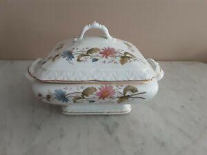 Antique Porcelain Pink & Blue Floral Design Lidded Vegetable Tureen