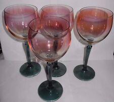 Vintage Bohemian wine glasses - Set of 4-Tulip- Czech/COLONY/-Pink, Green