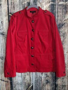 Talbots Blazer Womens 16 Red Velvet Holiday Christmas Career Jacket