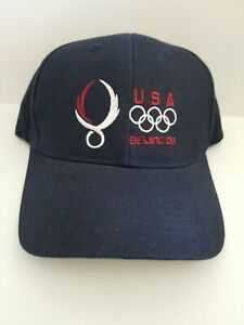 NEW U.S..S. OLYMPIC TEAM HAT CAP 2008 BEIJING OLYMPIC GAMES BLUE ADJUSTABLE
