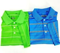 Walter Hagen Hydro-Dri Mens M Golf Polo Shirt Blue Green Striped SS Lot of 2