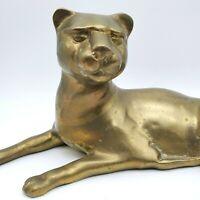 Vintage Brass Panther Lion Wild Cat Reclining Figurine Statue Heavy (#F)